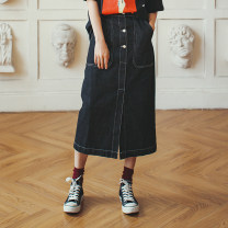 skirt Spring 2020 S,M,L Picture color Mid length dress commute Natural waist other Solid color Type H 18-24 years old Q20074 More than 95% Denim Vimie cotton Simplicity