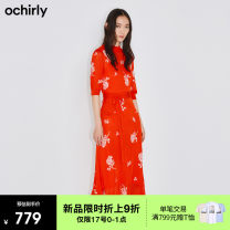Dress Spring 2021 Orange 140 black 090 S M L Middle-skirt singleton  Short sleeve commute Crew neck middle-waisted Broken flowers other One pace skirt Wrap sleeves Others 25-29 years old Ochirly / Ou Shili Retro printing 1NY103042F More than 95% other Lyocell 100%