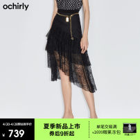 skirt Summer 2021 XS S M L XL Black 090 Middle-skirt commute Natural waist Little black dress Solid color 25-29 years old 1NY2070010 51% (inclusive) - 70% (inclusive) Lace Ochirly / Ou Shili polyester fiber Lace Simplicity Polyester 56.7% polyamide 43.3%