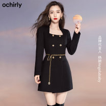 Dress Spring 2021 Black 090 apricot 870 XS S M L XL Middle-skirt singleton  Long sleeves commute other middle-waisted Solid color other other routine Others 25-29 years old Ochirly / Ou Shili Simplicity zipper 1NY1080730 51% (inclusive) - 70% (inclusive) polyester fiber