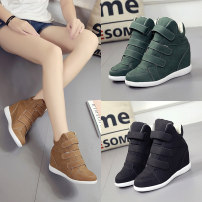 High shoes Internal elevation Khaki Green Black Round head 35 36 37 38 39 Other / other cloth PU Middle heel (3-5cm) Fall 2017 Velcro Korean version rubber Color matching PU
