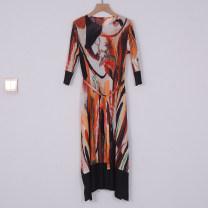 Dress Spring 2021 Blue, orange Average size Mid length dress Long sleeves commute Crew neck routine printing X10486280122