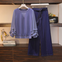 Women's large Autumn 2020 Top 8266, pants 8267 L (90-110 kg), XL (110-130 kg), 2XL (130-150 kg), 3XL (150-170 kg), 4XL (170-190 kg) Two piece set commute easy moderate Long sleeves Korean version routine polyester other 18-24 years old 51% (inclusive) - 70% (inclusive) other trousers