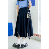 skirt Summer 2021 S,M,L Navy, coco check longuette gorgeous High waist A-line skirt Solid color Type A 25-29 years old L3451 91% (inclusive) - 95% (inclusive) other polyester fiber zipper