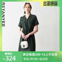 Dress Summer 2020 S,M,L,XL,2XL Middle-skirt singleton  Short sleeve commute V-neck Loose waist Solid color Socket other routine Others 35-39 years old Type H Yan Yu Simplicity Frenulum More than 95%