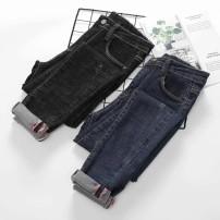 Jeans Spring of 2019 Black, dark blue 34,36,38,40,42 Ninth pants High waist Pencil pants Cotton elastic denim