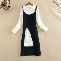 Dress Autumn 2020 White shirt + Black S,M,L,XL Mid length dress Two piece set Long sleeves Sweet Polo collar middle-waisted Solid color Socket other shirt sleeve Others 18-24 years old Type A CINISIOR Lace up, stitching, 3D Fashion suit 81% (inclusive) - 90% (inclusive) other cotton college