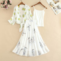 Lace / Chiffon Summer 2021 S,M,L,XL,2XL Short sleeve other Cardigan Three piece set Self cultivation Medium length other Decor routine 18-24 years old CINISIOR Fashion suit 81% (inclusive) - 90% (inclusive) polyester fiber