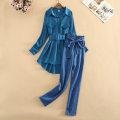 Women's large Spring 2021, summer 2021 Peacock blue shirt + blue pants, peacock blue shirt without pants S is suitable for 85-100 Jin, M is suitable for 95-110 Jin, l is suitable for 105-120 Jin, XL is suitable for 115-130 Jin, XXL is suitable for 125-140 Jin, 3XL is suitable for 140 Jin Sweet thin