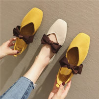 Low top shoes 35,36,37,38,39,40,41 Other / other Yellow, apricot Square head cloth Flat bottom Flat heel (1cm or less) Shallow mouth cloth Summer of 2019 Trochanter Korean version Adhesive shoes Youth (18-40 years old) rubber Single shoes Shallow mouth, bow PU daily