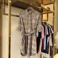 Dress Summer 2020 khaki S,M,L,XL,XXL Mid length dress singleton  Long sleeves commute tailored collar lattice A-line skirt routine Others Type A Silk and satin cotton