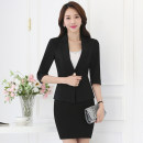 Professional dress suit S,M,L,XL,XXL,XXXL Black suit + black skirt, white suit + black skirt, orange suit + black skirt, black single suit, white single suit, orange single suit, single skirt Spring 2017 three quarter sleeve loose coat A-line skirt