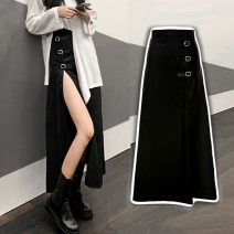 skirt Autumn 2020 One size fits all, s, m, l Black irregular metal button skirt, white irregular top, black skirt + complexion Plush pantyhose longuette commute High waist Irregular Solid color Type X 25-29 years old 30% and below brocade Other / other cotton Hollowed out, asymmetric, stitched lady