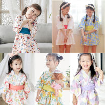 Dress female augelute 130cm,120cm,110cm,100cm,90cm Cotton 95% other 5% spring and autumn solar system Long sleeves Broken flowers cotton Pleats 18 months, 2 years old, 3 years old, 4 years old, 5 years old, 6 years old