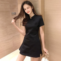 Dress Summer 2020 Black two piece suit [skirt + shorts] S,M,L,XL,2XL Short skirt Two piece set Short sleeve commute stand collar High waist Solid color zipper A-line skirt routine Others Type A other Korean version Pocket, stitching, stereo decoration, zipper, 3D More than 95% brocade cotton