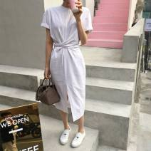 Dress Spring of 2019 White, green, caramel Average size Middle-skirt singleton  Short sleeve commute Crew neck High waist Solid color Socket other other Others 18-24 years old Other / other 30% and below cotton