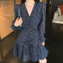 Dress Autumn 2020 Blue flower S,M,L Short skirt singleton  Long sleeves commute V-neck High waist Decor other Big swing puff sleeve 91% (inclusive) - 95% (inclusive) other other