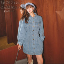 Dress Spring 2021 Blue in stock S,M,L Short skirt singleton  Long sleeves commute Polo collar High waist Solid color Single breasted A-line skirt routine Others Type A Korean version Pleats, pockets, rags, buttons 91% (inclusive) - 95% (inclusive) Denim cotton