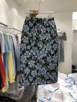 skirt Summer 2021 S,M,L,XL Blue, yellow Mid length dress commute High waist A-line skirt Broken flowers Type A 18-24 years old 51% (inclusive) - 70% (inclusive) Korean version