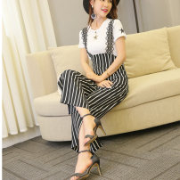Casual pants White, black, black and white stripes S,M,L,XL,2XL Summer 2017 Ninth pants Wide leg pants High waist commute Thin money 18-24 years old 81% (inclusive) - 90% (inclusive) Suspenders 001 Other / other hemp Korean version straps hemp