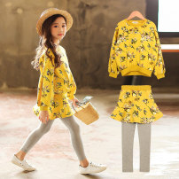 suit 2 pieces Condom children Expression of love 9, 8, 7, 6, 5, 4, 3, 14, 13, 12, 11, 10 Other / other female spring and autumn Broken flower other Korean version routine There are models in the real shot Long sleeve + pants nothing Class A Other 100% Korean floral suit yellow