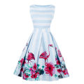 Dress Summer 2017 Flamingo attention - too big! It's a size smaller than what you usually wear S M L XL 2XL 3XL 4XL Mid length dress singleton  Sleeveless commute Crew neck middle-waisted stripe Socket Big swing Type A Retro Zipper printing cotton