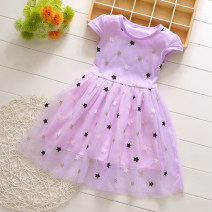 Dress female Jack Yujia Polyester 90% other 10% summer princess Short sleeve Broken flowers other Class B 18 months, 2 years, 3 years, 4 years, 5 years Chinese Mainland