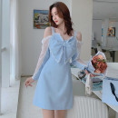 Dress Spring 2021 blue S,M,L,XL Mid length dress singleton  commute Crew neck High waist Solid color Socket A-line skirt Type A lady Hollowed out, stitched, gauze net