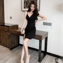 Dress Summer of 2019 black S,M,L Short skirt singleton  V-neck High waist Solid color zipper One pace skirt camisole 25-29 years old
