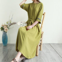 Dress Summer 2021 Blue, grass green, earth yellow, hemp, rust red M,L,XL longuette singleton  elbow sleeve commute Crew neck Loose waist Solid color Socket Big swing routine Others Type H Retro Embroidery, stitching, making old, buttons 51% (inclusive) - 70% (inclusive) hemp