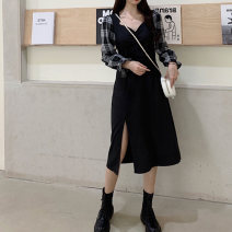 Dress Spring 2021 black M,L,XL,2XL,3XL,4XL Mid length dress singleton  Long sleeves commute square neck middle-waisted Solid color Socket A-line skirt puff sleeve Others 18-24 years old Type A Korean version 30% and below other other