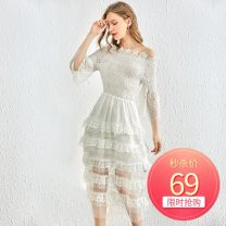 Dress Autumn of 2019 white S,M,L Mid length dress singleton  three quarter sleeve Sweet One word collar High waist Socket Princess Dress Princess sleeve Others 25-29 years old Type H Make an appointment A4L291060 91% (inclusive) - 95% (inclusive) Lace polyester fiber princess