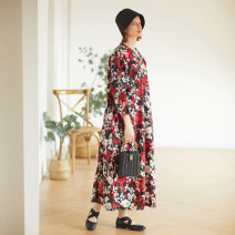 Dress Summer 2020 Picture color M, L longuette singleton  Long sleeves commute V-neck Loose waist Decor Socket Big swing Sleeve Type O The robe of Dancing Flower meat Retro Pocket, print Q77