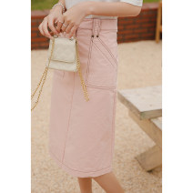 skirt Summer 2021 S,M,L Pink Mid length dress commute Natural waist A-line skirt Solid color Type A 25-29 years old 1110478QJ More than 95% Denim SubEn cotton literature