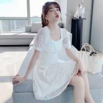 Dress Summer 2021 white S,M,L,XL Mid length dress singleton  Short sleeve commute square neck High waist Solid color Socket A-line skirt puff sleeve camisole 18-24 years old Type A Other / other Korean version Hollowing out 71% (inclusive) - 80% (inclusive) other other