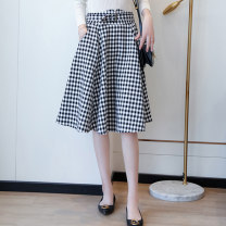 skirt Autumn 2020 S,M,L,XL Check pattern longuette commute High waist A-line skirt lattice Type A 25-29 years old S090507 81% (inclusive) - 90% (inclusive) Cathyladi / cathaladi polyester fiber zipper