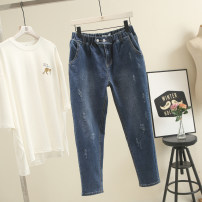 Jeans Spring of 2019 Dark blue trousers routine Dark color