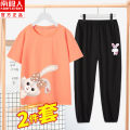 suit NGGGN 110cm 120cm 130cm 140cm 150cm 160cm 165cm female summer leisure time Short sleeve + pants 2 pieces Thin money There are models in the real shooting Socket nothing other cotton children Expression of love YIJF202103202041 Class B Cotton 100% Summer 2021 Chinese Mainland Hubei province