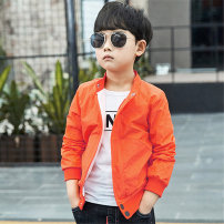 Plain coat Bing LAN male 100 (for 80-90 height), 110 (for 90-100 height), 120 (for 100-110 height), 130 (for 110-120 height), 140 (for 120-130 height), 150 (for 130-140 height), 160 (for 140-150 height) Orange, black spring and autumn motion Zipper shirt There are models in the real shooting nothing