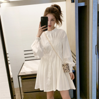 shirt White, black S,M,L,XL,2XL Spring 2021 other 31% (inclusive) - 50% (inclusive) Long sleeves commute Medium length Single row multi button puff sleeve Solid color 18-24 years old Other / other Korean version