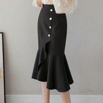 skirt Summer 2020 S,M,L,XL,2XL,3XL Mid length dress commute High waist skirt Solid color Type A 30-34 years old More than 95% other other Button, zipper Korean version