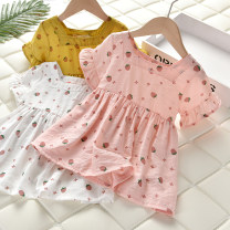 Dress female Can Rhine 90cm,100cm,110cm,120cm,130cm Other 100% summer Korean version Short sleeve other blending A-line skirt Class B 2 years old, 3 years old, 4 years old, 5 years old, 6 years old Chinese Mainland Guangdong Province