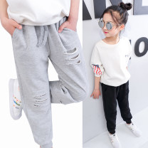 trousers female Light grey, black spring and autumn trousers motion There are models in the real shooting Sports pants Leather belt middle-waisted cotton Don't open the crotch Other 100% Class B