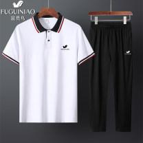 Leisure sports suit summer L,XL,2XL,3XL,4XL,5XL Short sleeve FGN / rich bird trousers middle age Polo shirt cotton 2021