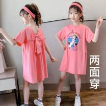 Dress Pink, violet, white, gray, apricot, blue, orange, red, light green, yellow, petal pink, white gold, soft purple, glacier white, Star Pink, bright white female Other / other 110cm,120cm,130cm,140cm,150cm,160cm Other 100% leisure time Short sleeve Cartoon animation cotton Splicing style Class B