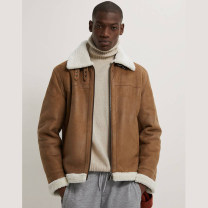 Jacket UR HM ZARA Youth fashion Tan S,M,L,XL Plush and thicken standard Other leisure winter Long sleeves Wear out Lapel tide youth routine zipper Straight hem No iron treatment Closing sleeve Solid color Side seam pocket polyester fiber