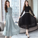 Dress Spring 2021 Black, blue grey M,L,XL,2XL,3XL longuette singleton  Long sleeves commute stand collar High waist Broken flowers other Big swing routine Others 25-29 years old lady printing 81% (inclusive) - 90% (inclusive) Lace nylon