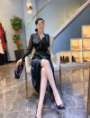 Dress Spring 2021 Black, yellow S,M,L,XL Mid length dress Long sleeves V-neck High waist Solid color