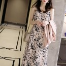 Dress Summer 2021 Black, as shown in the picture S,M,L,XL Mid length dress singleton  Sleeveless commute V-neck Loose waist Broken flowers other A-line skirt routine camisole 30-34 years old Type A Goluerji / gelijie Ol style printing GLJ 060803 More than 95% other other