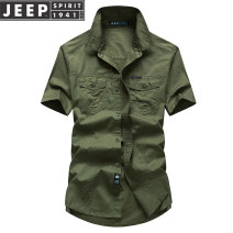 shirt Fashion City Jeep / Jeep M,L,XL,2XL,3XL,4XL,5XL Thin money square neck Short sleeve easy daily summer youth Cotton 100% Military brigade of tooling 2021 Solid color Color woven fabric washing cotton More than 95%
